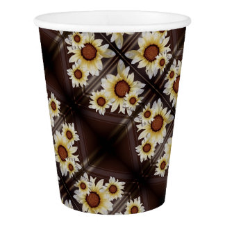 Daisies on brown paper cup