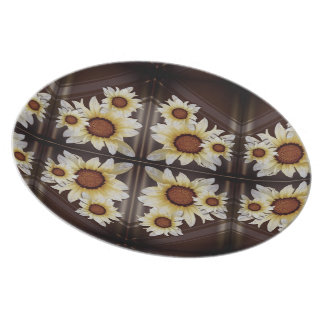 Daisies on brown plate