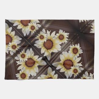 Daisies on brown tea towel