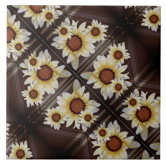 Daisies on brown tile