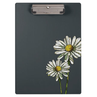 Daisies on Deep Blue: Original Art Clipboard