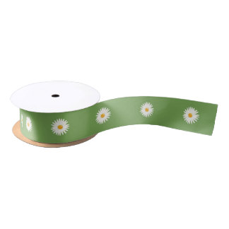 Daisies On Green Satin Ribbon