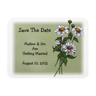 Daisies on Green: Save The Date: Floral Art Rectangular Photo Magnet