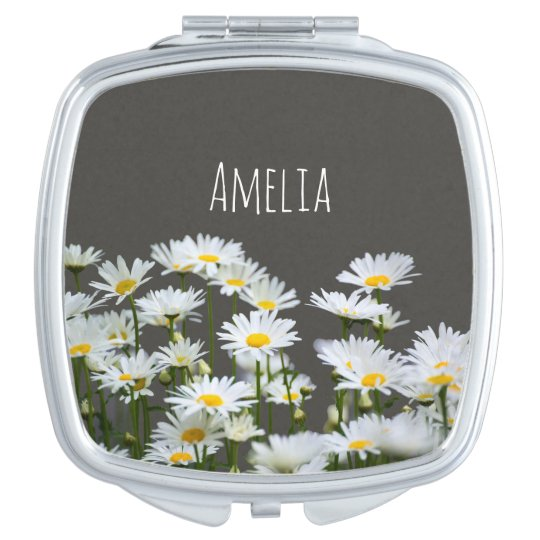 Daisies on Grey Compact Mirror