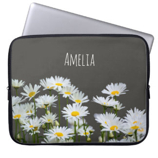 Daisies on Grey Laptop Sleeve