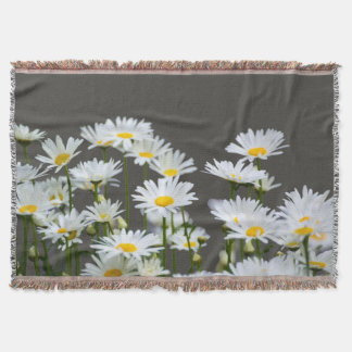 Daisies on Grey Throw Blanket