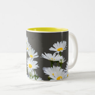 Daisies on Grey Two-Tone Coffee Mug