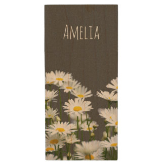 Daisies on Grey Wood USB Flash Drive