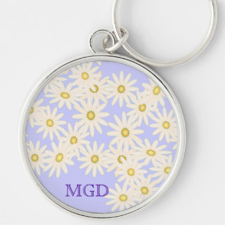 Daisies on lilac monogram premium keychain
