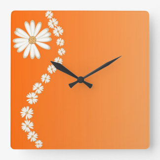 Daisies on Orange Square Wall Clock