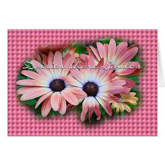 Daisies on Pk Gingham- customise any occasion Card