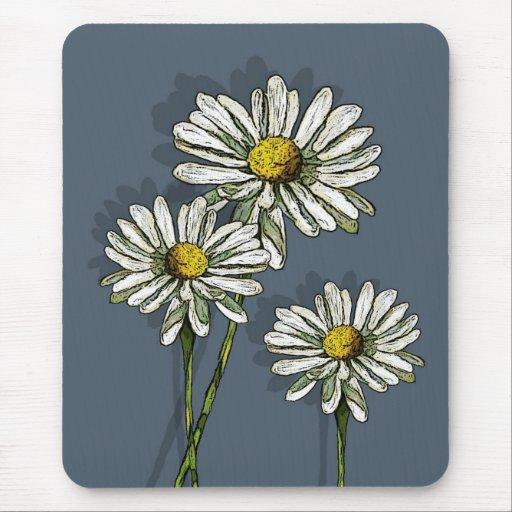 Daisies on Teal Blue: Origina Art Mousepads