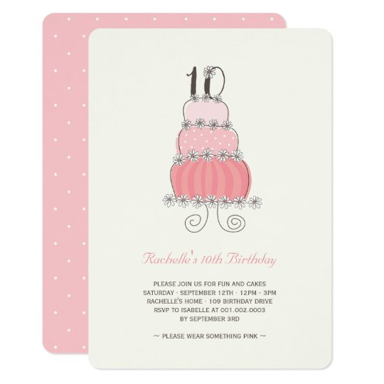 Daisies Pink Cake Girl 10th Birthday Party Invite