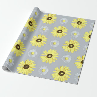Daisies White Yellow on Grey Wrap Paper