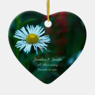Daisy 5th Wedding Anniversary Heart Shaped Christmas Ornament