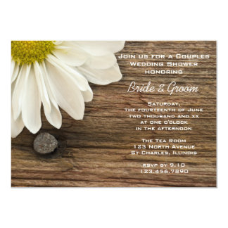 Daisy and Barn Wood Country Couples Wedding Shower 13 Cm X 18 Cm Invitation Card