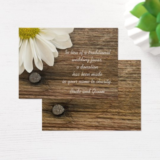 Daisy and Barn Wood Country Wedding Charity Favour Business Card