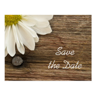 Daisy and Barn Wood Country Wedding Save the Date Postcard