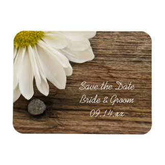 Daisy and Barn Wood Country Wedding Save the Date Rectangular Magnets