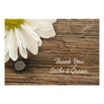 Daisy and Barn Wood Country Wedding Thank You Note Invitation
