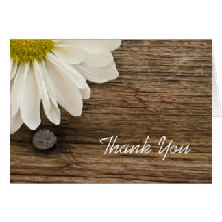 Daisy and Barn Wood Wedding Bridesmaid Thank You Card