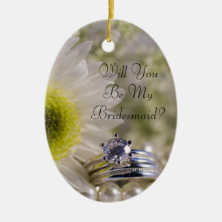 Daisy and Diamond Rings Will You Be My Bridesmaid Ceramic Oval Decoration