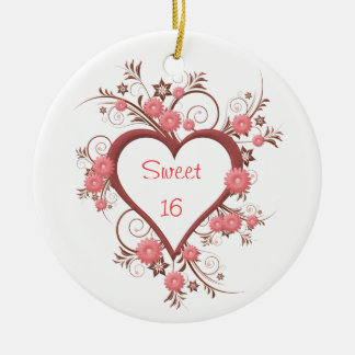 Daisy and Heart Sweet Sixteen Christmas Ornament