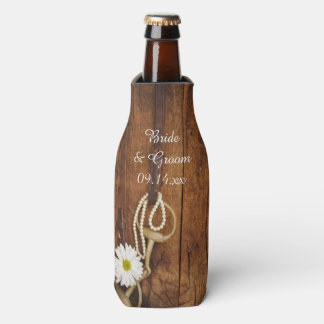 Daisy and Horse Bit Country Western Wedding Favor Bottle Cooler