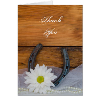Daisy and Horseshoe Country Bridesmaid Thank You Greeting Card