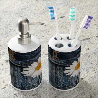 Daisy And Jeans Soap Dispenser And Toothbrush Holder