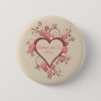 Daisy and Open Heart in Pink Intricate and Elegant 6 Cm Round Badge