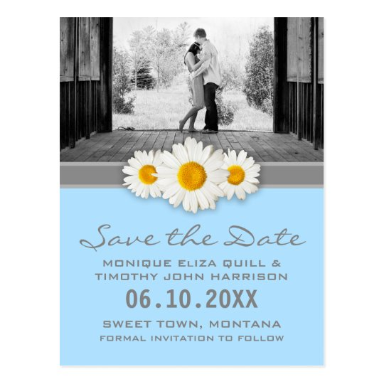 Daisy and Ribbon Wedding Save the Date Postcard