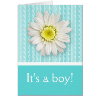 Daisy and Stripes Baby Boy Birth Announcement Greeting Card