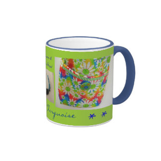 Daisy and Turquoise Coffee and Tea Mug