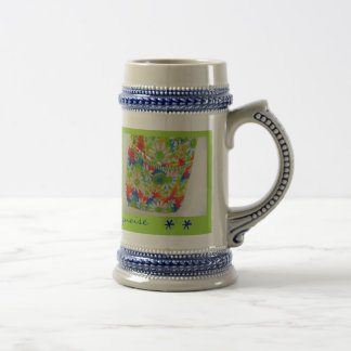 Daisy and Turquoise Hipster Bag Stein Mug