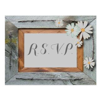 daisy barn wood western country wedding rsvp postcard