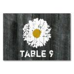 Daisy & Barnwood Wedding Table Number Card Table Cards
