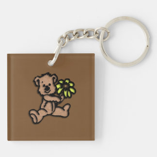 Daisy Bear Design Brown Double-Sided Square Acrylic Key Ring