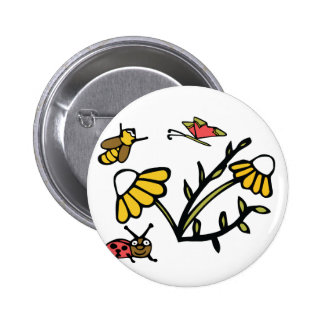 Daisy, Bee, Butterfly and Ladybug 6 Cm Round Badge