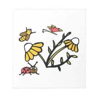 Daisy, Bee, Butterfly and Ladybug Notepad