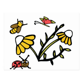 Daisy, Bee, Butterfly and Ladybug Postcard
