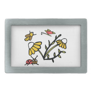 Daisy, Bee, Butterfly and Ladybug Rectangular Belt Buckle