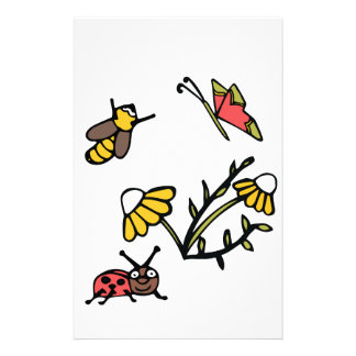 Daisy, Bee, Butterfly and Ladybug Stationery