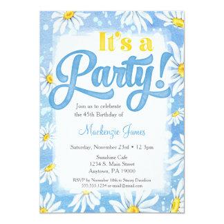 Daisy Birthday Invitation Blue Yellow Floral