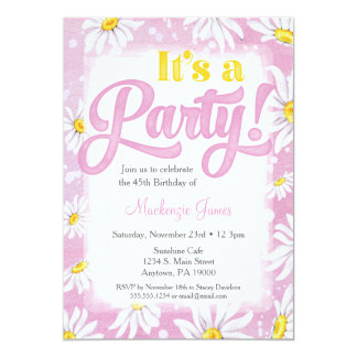Daisy Birthday Invitation Pink Yellow Floral