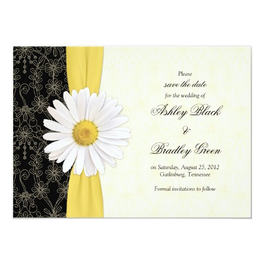 Daisy Black Yellow, Ivory Wedding Save the Date