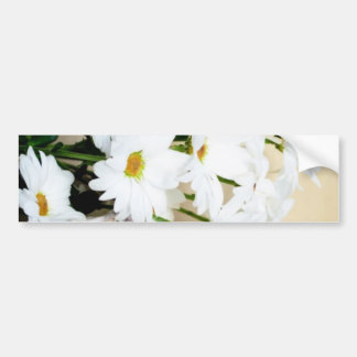 Daisy Blossoms Flowers and Wicker Basket Bumper Sticker