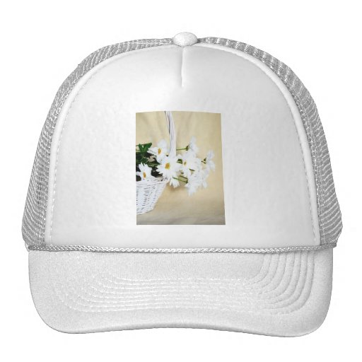 Daisy Blossoms Flowers and Wicker Basket Hats