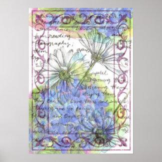 Daisy Blue Hydrangea Watercolor Flowers Poster