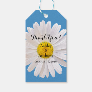 Daisy Blue White Wedding Thank You Favor Tag